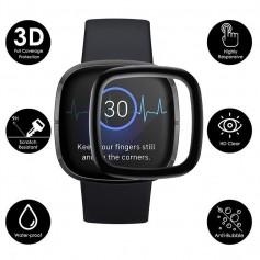 DrPhone PROTEC - Fitbit Versa 3 / Sense PET Folie Tempered Glass 3D - Volledige Bescherming - Zwart