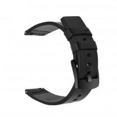 DrPhone - Galaxy Watch 42mm/ Active 40mm - 20mm Banden - Lederen Armband - Genuine Leather Horloge bandje met RVS Gesp - Zwart