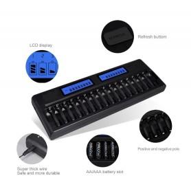 DrPhone BL16 Batterijlader 16-slots AA/AAA/ NiMH/NiCd Oplaadbare batterijen met LCD-scherm – Laden & Ontladen - Zwart