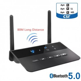 DrPhone SKYLINK MEGA2 – 2 in 1 Bluetooth Audio Adapter AptX - RX / TX / - Receiver / Ontvanger - 80M afstand