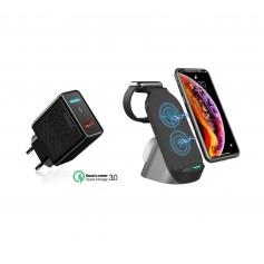 DrPhone QW2 – 3 in 1 Draadloze lader – Dock - Veilig Laden - iPhone – Apple Watch / Airpods Pro – 15W + QC Adapter- Zwart