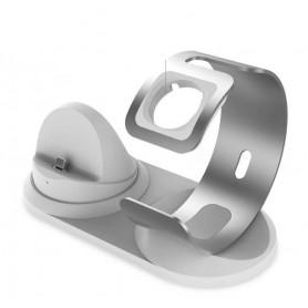 DrPhone T020 - 2 in 1 Charging Stand – Iphone – Apple Watch - + 1 meter Micro Kabel - Zilver