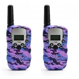DrPhone WT388- 22 kanaals Walkie Talkies - Voor Kinderen – 6 Kilometer - Camouflage Paars