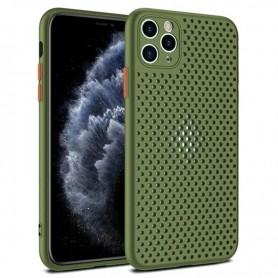 DrPhone iPhone 12/Mini/Pro/Pro Max MESH Ultradunne Siliconen TPU Hoesje - Ademend & Schokbestendige Case – Army Green
