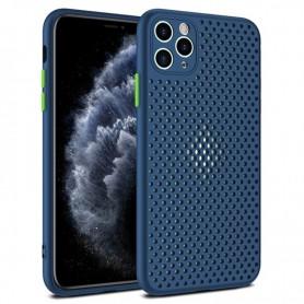 DrPhone iPhone 12/Mini/Pro/Pro Max MESH Ultradunne Siliconen TPU Hoesje - Ademend & Schokbestendige Case – Marine Blauw