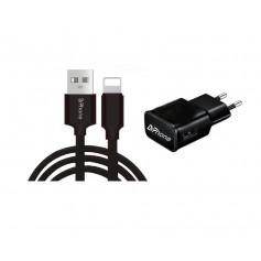 1 Pack DrPhone® Black Series - 10W Lader Oplader + 3 Meter Nylon iPhone + iPad Oplaadkabel - Zwart