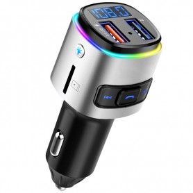 DrPhone-Hand free car charger – Bluetooth - rainbow LED – fm transmitter – voltage detection - 5v/1.0 usb output