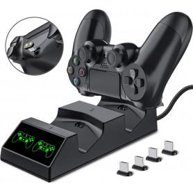 DrPhone DCD4 PS4/PS4 Slim/PS4 Pro Magnetische Controller Oplader - Oplaadstation met 4 Micro USB Magnetische Bitjes – Zwart