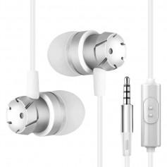 DrPhone MT1 - Metalen dopjes - Super Bass - Ruisonderdrukking - Microfoon inbegrepen - Volumeknop - Wit