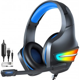 DrPhone GH6 Gaming Headset Koptelefoon 3.5mm Aux met Microfoon & RGB - 3D Surround Stereo 7.1 voor o.a PS4/ PS5, Xbox One, PC
