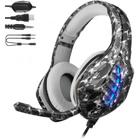 DrPhone GH9 Gaming headset Koptelefoon – RGB – 3.5mm met microfoon voor o.a PS4/PS5/PC/XBOX One S /Laptop – Camouflage Geel