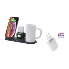 DrPhone ALLINX Heat met Mok - 4 in 1 Draadloze Oplader voor iPhone / Apple Watch en Airpods + Mok