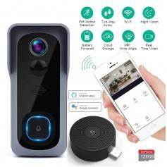 DrPhone SMARTCAM X 11 - Draadloze WiFi Deurbel Set met Camera - Sensor - IR Nachtzicht - Waterproof + Binnen bel + 64 Micro SD