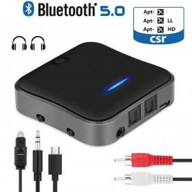 DrPhone BX-Pro3 AptX HD Ruisvrij Bluetooth Ontvanger + Zender - 3.5mm Aux RCA Optische SPDIF Audio Adapter - Zwart