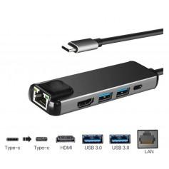DrPhone 5 in 1 Multiport Type-C Hub - Hdmi 4K - 1x Gigabit(1000M) Ethernet - 2 x USB 3.0 - USB C Powerdelivery/Thunderbolt