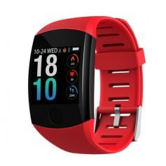 DrPhone W11 - Sporthorloge Activity Tracker - Groot Scherm - Hartslagmeter - Stappenteller - Smartwatch - Bordeaux Rood