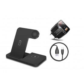 DrPhone Legend7 Pro - 15W - 3 in 1 Draadloze Oplader - Dock - Geschikt voor Apple Watch / iPhone / Airpods - Zwart