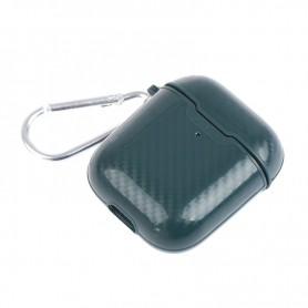 DrPhone ACG10 - Airpods 1/2 Hoesje - Carbon - Siliconen - Sleutelhanger - Legergroen