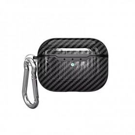 DrPhone ACF20 – Airpods Pro Hoesje - Carbon - Siliconen – Karabijnhaak - Zwart