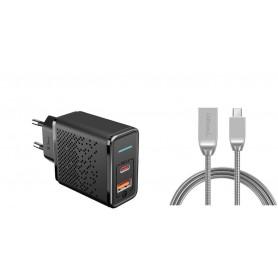 DrPhone HALOM1 - 18W snellader + Metalen USB-C Kabel - Anti-knik - LED indicator - 1 Meter - Zwart