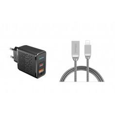 DrPhone HALOM1 - 18W snellader + Metalen Lightning Kabel - Anti-knik - LED indicator - 1 Meter - Zwart
