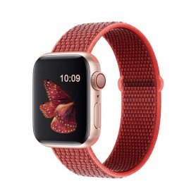 DrPhone AWB - Apple Watch Bandje - Nylon - 42mm - 44mm - Rood