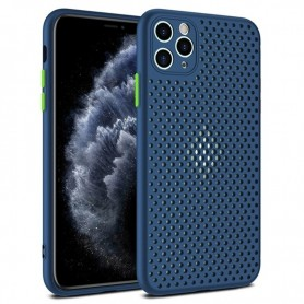 DrPhone MESH2 - iPhone 12 - Ultradunne Siliconen TPU Hoesje - Ademend & Schokbestendige Case – Marine Blauw