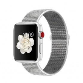 DrPhone AWB - Apple Watch Bandje - Nylon - 42mm - 44mm - Wit Grijs
