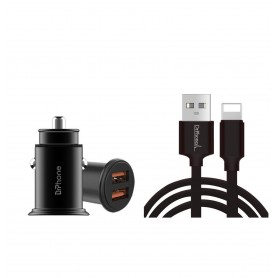 DrPhone Hybrid Pro - Autolader - 18W - 2x USB 3.0 - 1 Meter Kabel - Micro USB - Zwart