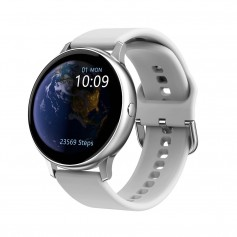 DrPhone DTX Retina Display - SmartWatch - Touch Screen IP68 Waterdicht - Hartslagmeter - Bloeddrukmeter - Siliconen - Zilver