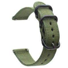 DrPhone SWB1 - Smart Watch Bandje - Roestvrij Staal Gesp - Nylon - 22mm - Groen
