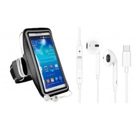 DrPhone SPO1 – Reflecterende Sportarmband L 5.8 inch - USB-C Oordopjes – Microfoon – TYPE-C Oordoppen