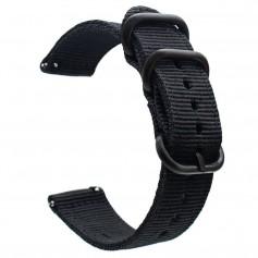 DrPhone SWB1 - Smart Watch Bandje - Roestvrij Staal Gesp - Nylon - 22mm - Zwart
