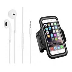 DrPhone SPO2 – Reflecterende Sportarmband L 5.8 inch - Headset met 3.5mm jackaansluiting – Microfoon – Wit - Zwart