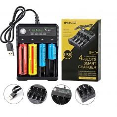 DrPhone BC4S - Batterijlader - 4 Slots - Oplaad indicator - USB aansluiting - Verschillende maten batterijen