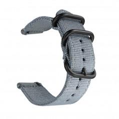 DrPhone SWB1 - Smart Watch Bandje - Roestvrij Staal Gesp - Nylon - 20mm - Grijs