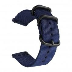 DrPhone SWB1 - Smart Watch Bandje - Roestvrij Staal Gesp - Nylon - 20mm - Blauw