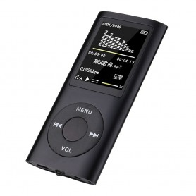 DrPhone X7 Mp3 Mp4 – Music Player – Led – Aux – Usb – Lcd Sn Display – Audio Media Speler + Oordoppen - Zwart
