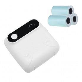 DrPhone PiX Pro + 3 Rollen Blauw - Telefoon Afdrukken - Bluetooth Printer - Draagbare Mini Printer - 57mm Label - Kinderen - Wit