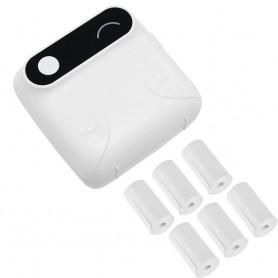 DrPhone PiX Pro + 6 Rollen Blauw - Telefoon Afdrukken - Bluetooth Printer - Draagbare Mini Printer - 57mm Label - Kinderen - Wit