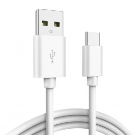 DrPhone UC1 - USB-C - Oplaad Kabel - Fast Charger - 2.4A - 1 Meter - Wit