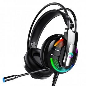 DrPhone GH11 Bedrade Aux 3.5mm Gaming Headset met RGB & 1 naar 2 Aux Adapter - 4D Surround Sound met microfoon – Zwart