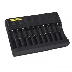 DrPhone ChargeX10 Batterij Lader 10 poorten – Li-ion Oplaadbaar voor o.a 18650 26650 14500 16340 18500 10440 18350 17670