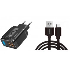 DrPhone PS5-Y - 2 Meter Kabel - USB-C - Oplaadkabel – 18W Dubbele Qualcom 3.0 Quick Charge - Adapter - Snel Lader – Zwart