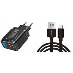 DrPhone PS5-Y - 1 Meter Kabel - USB-C - Oplaadkabel – 18W Dubbele Qualcom 3.0 Quick Charge - Adapter - Snel Lader – Zwart