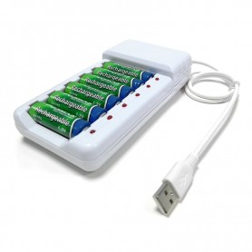 DrPhone BD6 – Batterij lader - Oplader - 6 Poorten - Usb -- AA – AAA - Overbelasting Bescherming – Oplaadbaar - Wit