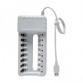 DrPhone BD8 – Batterij lader - Oplader - 8 Poorten - Usb -- AA – AAA - Overbelasting Bescherming – Oplaadbaar - Wit