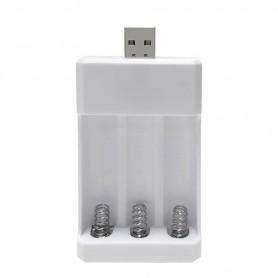 DrPhone BD3 – USB Batterij lader - Oplader - 3 Poorten - AA – AAA - Oplaadbaar - Wit