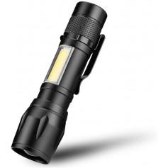 DrPhone FL1 - Led Zaklamp - Cob/Xpe - Waterdicht - Inclusief zoom - Zwart - Licht afstand 100/200m