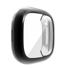 DrPhone FC1 - Fitbit Cover - Screen Protector - Bumper - Bescherming - Versa 3- Zwart